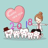 Tooth with new year. Happy new year and cute cartoon dentist with cartoon tooth family Stock Photo