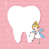 Tooth note with tooth fairy. Cartoon  tooth note with tooth fairy, great for dental care concept Stock Photo