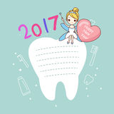 Tooth note with tooth fairy Stock Photo