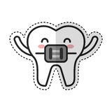 Tooth with Orthodontic bracket character icon Royalty Free Stock Images