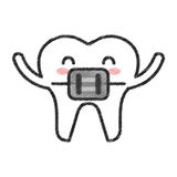 Tooth with Orthodontic bracket character icon Royalty Free Stock Photo