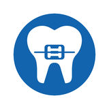 Tooth with Orthodontic bracket isolated icon Stock Photos