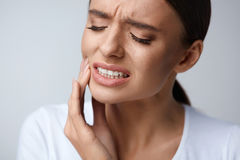 Tooth Pain. Beautiful Woman Feeling Strong Pain, Toothache Stock Image