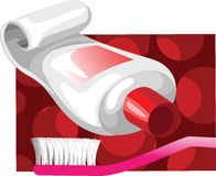 Tooth paste and brush Royalty Free Stock Images