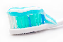 Tooth paste on brush, close up Royalty Free Stock Images