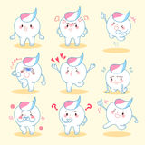 Tooth with paste do emotion. Cartoon tooth with paste do different emotion Stock Images