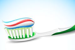 Tooth Paste on Tooth Brush. Illustration of tooth paste on tooth brush on abstract background Royalty Free Stock Images