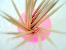 Tooth Picks. Wooden toothpicks isolated on a white studio background Royalty Free Stock Photos