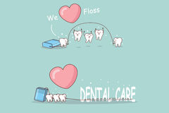 Tooth playing with floss Royalty Free Stock Photo