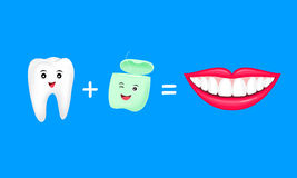 Tooth plus dental floss equal fresh and whitening teeth. Cute cartoon character design. Vector illustration isolated on blue background Stock Images