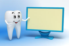 Tooth pointing to monitor Royalty Free Stock Image