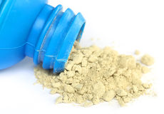 Tooth powder with bottle Royalty Free Stock Photos