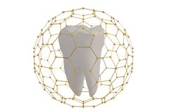 Tooth protection concept tooth covered with hexagon frame 3D ill. Ustration vector illustration