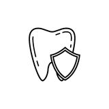 Tooth Protection line icon. Dental and medicine, vector graphics, a linear pattern on a white background, eps 10 Royalty Free Illustration