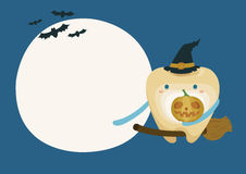 Tooth with pumpkin in moon night on halloween Stock Image