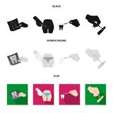Tooth, X-ray, instrument, dentist and other web icon in black, flat, monochrome style.surgeon, abscess, scalpel icons in. Tooth, X-ray, instrument, dentist and vector illustration