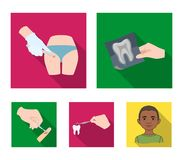 Tooth, X-ray, instrument, dentist and other web icon in flat style.surgeon, abscess, scalpel icons in set collection. Tooth, X-ray, instrument, dentist and Royalty Free Stock Photo