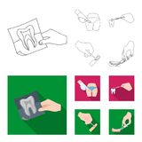Tooth, X-ray, instrument, dentist and other web icon in outline,flat style.surgeon, abscess, scalpel icons in set. Tooth, X-ray, instrument, dentist and other stock illustration