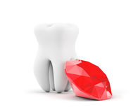 Tooth with red diamond Royalty Free Stock Image