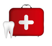 Tooth and Red Medical Bag with a Cross Stock Photo