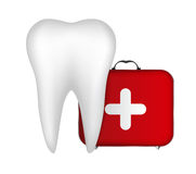 Tooth and Red Medical Bag with a Cross Stock Image