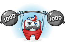 Tooth Retro Body Builder Cartoon Character with Mustache Stock Photos