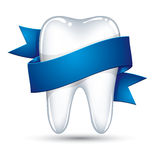 Tooth with ribbon vector icon. Royalty Free Stock Images