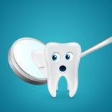 Tooth saw his crack through the mirror Stock Photos