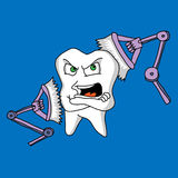 Tooth sensitivity to a toothbrush Royalty Free Stock Photography