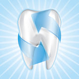 Tooth Set 5. Blue tooth protection, drawing on the floor Stock Photos