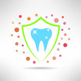 Tooth in a shield icon with bacteria around. Teeth. Tooth in a shield icon. Teeth protection concept symbol. Vector Stock Images