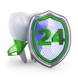The tooth and shield. Royalty Free Stock Image