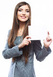 Tooth smile business woman hold banner, white back Royalty Free Stock Images