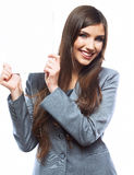 Tooth smile business woman hold banner, white background  portr Royalty Free Stock Photography