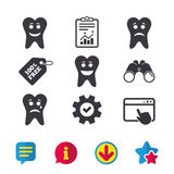 Tooth smile face icons. Happy, sad, cry. Tooth smile face icons. Happy, sad, cry signs. Happy smiley chat symbol. Sadness depression and crying signs. Browser Stock Photos