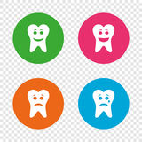 Tooth smile face icons. Happy, sad, cry. Tooth smile face icons. Happy, sad, cry signs. Happy smiley chat symbol. Sadness depression and crying signs. Round Stock Photo