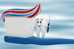 Tooth standing on a toothbrush Royalty Free Stock Photo