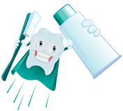 Tooth Superman holds toothpaste and toothbrush. Vector cartoon illustration Royalty Free Stock Image