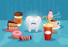 Tooth surrounded with sugar unhealthy food. Concept illustration with sad tooth among sweet and bad food having danger of cavity Royalty Free Stock Photo