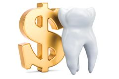 Tooth with symbol of dollar. Cost of dental services concept, 3D. Rendering isolated on white background Royalty Free Stock Photography