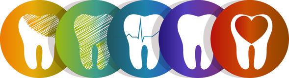 Tooth symbol set Royalty Free Stock Images