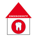Tooth with text emergency Stock Photography