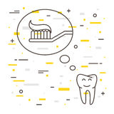 Tooth thinks about toothbrush with toothpaste linear vector illustration Royalty Free Stock Photos