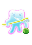 Tooth with a tooth-brush Stock Images
