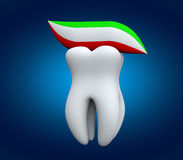 Tooth and tooth paste. Hygiene Tooth Concept. Tooth and tooth paste on a blue background Royalty Free Stock Image