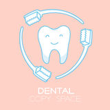 Tooth and toothbrush protecting cartoon illustration Stock Images