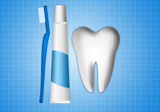 Tooth with toothbrush and toothpaste Royalty Free Stock Photo