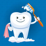 A tooth with toothbrush Royalty Free Stock Images