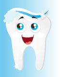 Tooth with toothpaste. And foam cartoon vector illustration Stock Photography