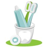Tooth, Toothpaste, Dental Floss, Toothbrush. Set of Tooth, toothpaste, dental floss toothbrush Vector Isolated Illustration Stock Image
